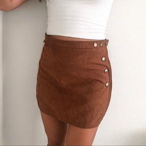 LA Hearts Boho Tan Suede Button Mini Skirt